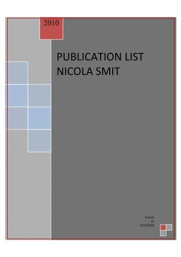 PUBLICATION LIST NICOLA SMIT