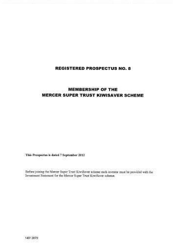 Mercer Super Trust KiwiSaver scheme Prospectus ... - SuperFacts.com