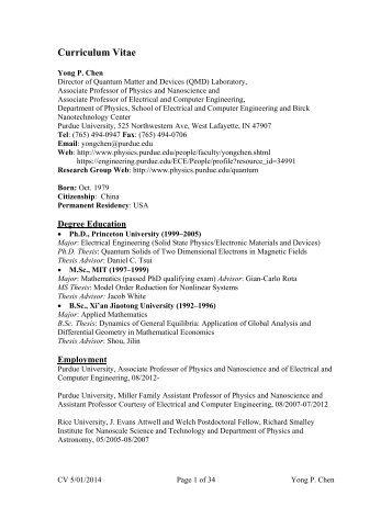 Curriculum Vitae - Department of Physics - Purdue University