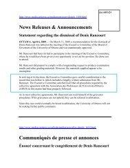 News Releases & Announcements Communiqués de presse et ...