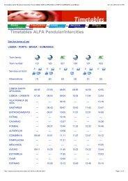 Timetables ALFA Pendular