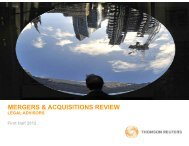 mergers & acquisitions review - Thomson Reuters Deal Making ...