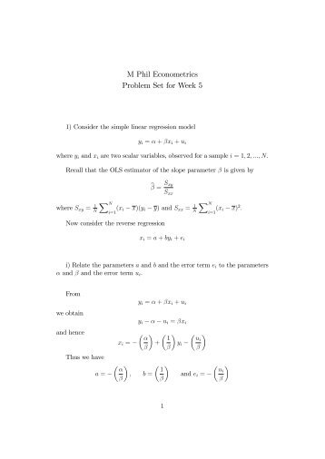 M Phil Econometrics Problem Set for Week 5