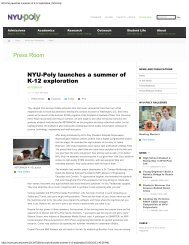 NYU-Poly launches a summer of K-12 exploration ... - Mechatronics