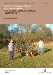 shelford manor, shelford, nottinghamshire report ... - English Heritage