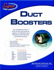 Duct Boosters Spec Sheet - Supco