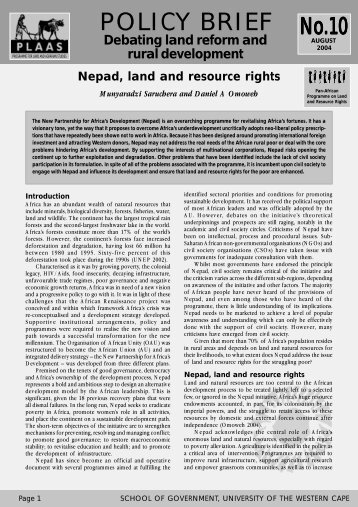 Nepad, land and resource rights