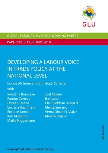 Developing a Labour Voice in Trade Policy at the National Level
