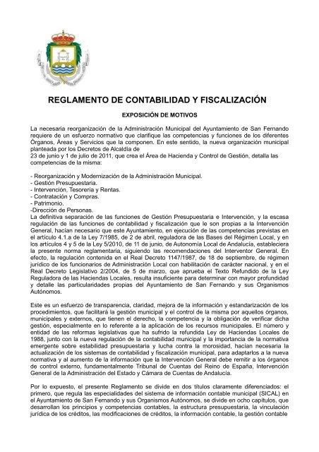 Reglamento Contabilidad Ayuntamiento De San Fernando