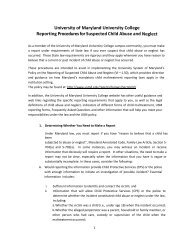UMUC's Procedures for Reporting Suspected Child Abuse and ...