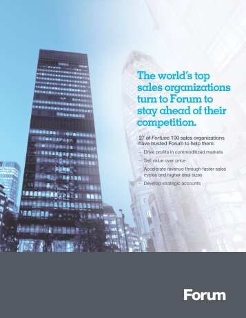 The world's top sales organizations turn to Forum to stay ahead of ...