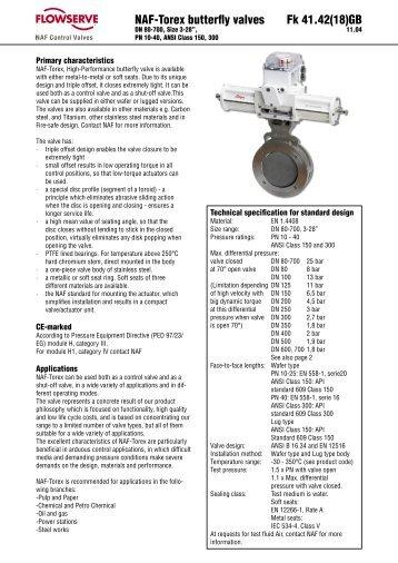 NAF-Torex butterfly valves Fk 41.42(18)GB