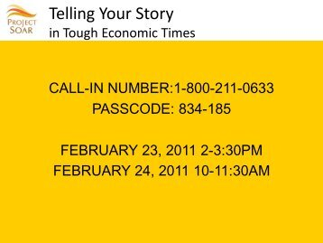 Telling Your Story in Tough Economic Times - ethniccommunities.org
