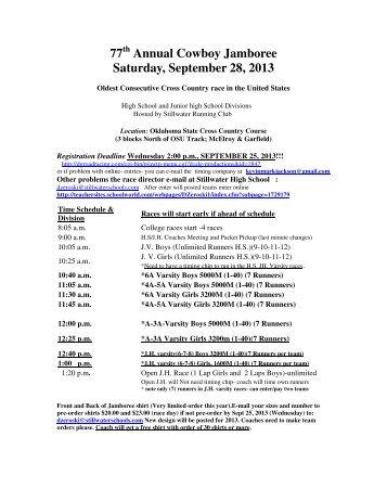 77 Annual Cowboy Jamboree Saturday, September 28, 2013