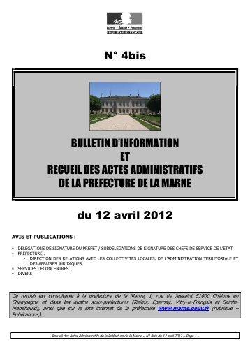 Recueil 4bis-2012 du 12 avril - 0,44 Mb - Préfecture de la Marne