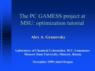 The PC GAMESS project at MSU: optimization tutorial