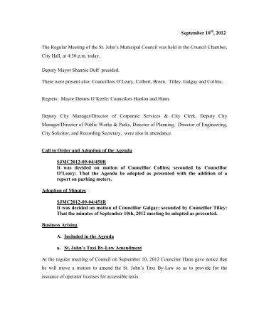 Council Minutes Monday, September 10, 2012 - City of St. John's