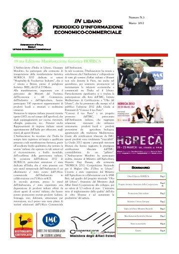 Notiziario IN LIBANO marzo 2012 - Ministero degli Affari Esteri