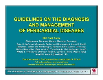 Guidelines on the Diagnosis and Management of Pericardial Disease