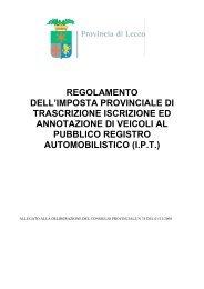 Regolamento IPT approvato con Delibera di Consiglio 74/2008