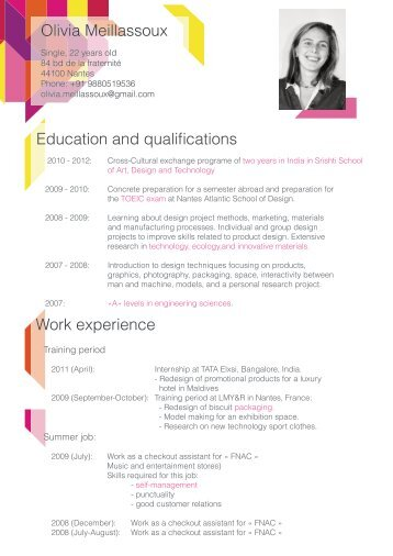 Olivia Meillassoux Education and qualifications Work experience
