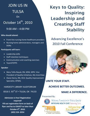 JOIN US IN TULSA - Oklahoma Foundation for Medical Quality