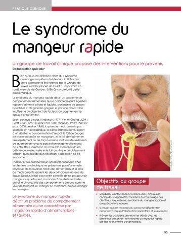 Le syndrome du mangeur rapide : Intervenir pour prévenir