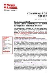 communique de presse - Conseil Général de Haute-Savoie