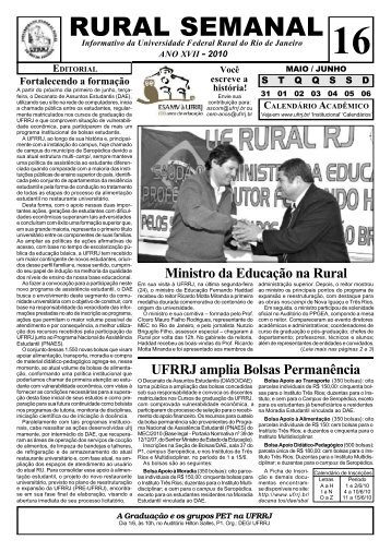 rural semanal - Instituto de Agronomia - UFRRJ