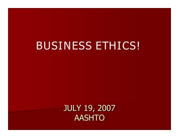 BUSINESS ETHICS!