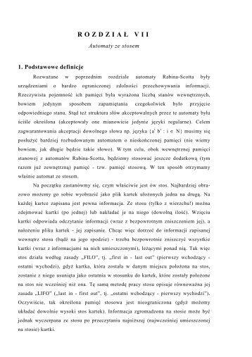 Rozdział VII - Automaty ze stosem