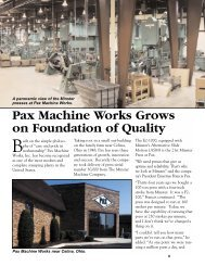 Pax Machine Works Grows on Foundation of Quality - Minster ...