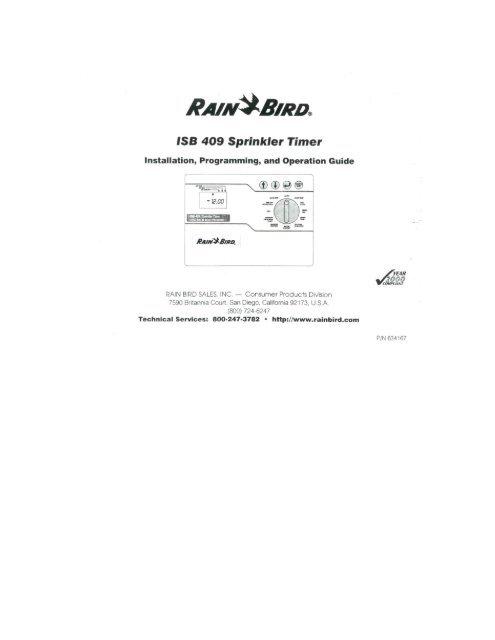 Rain Bird ISB-409 Controller Owner's Manual - Irrigation Direct