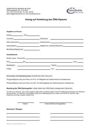 Antrag auf Verleihung des ÖÄK Diploms Akupunktur