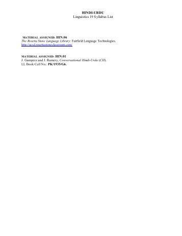 HINDI (Rosetta Stone) - Linguistics