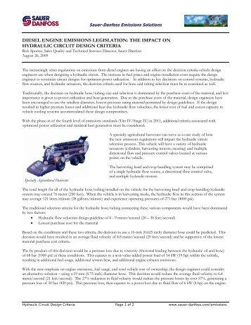 DIESEL ENGINE EMISSIONS LEGISLATION: THE  ... - Sauer-Danfoss
