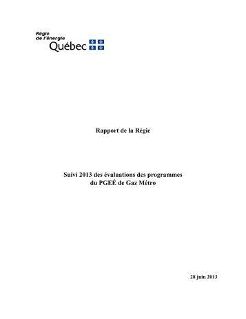 Rapport de la Régie Suivi 2013 des évaluations des programmes ...