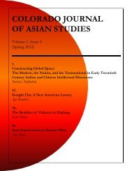 COLORADO JOURNAL OF ASIAN STUDIES - the Center for Asian ...