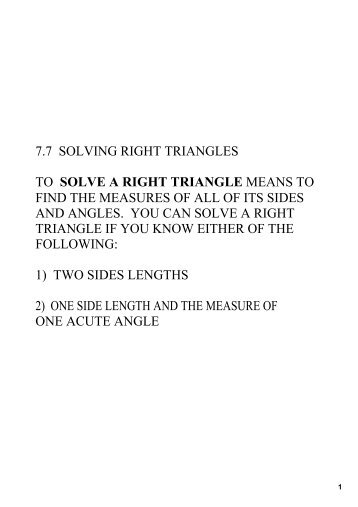 7.7 solving right triangles to solve a right triangle means to find the ...