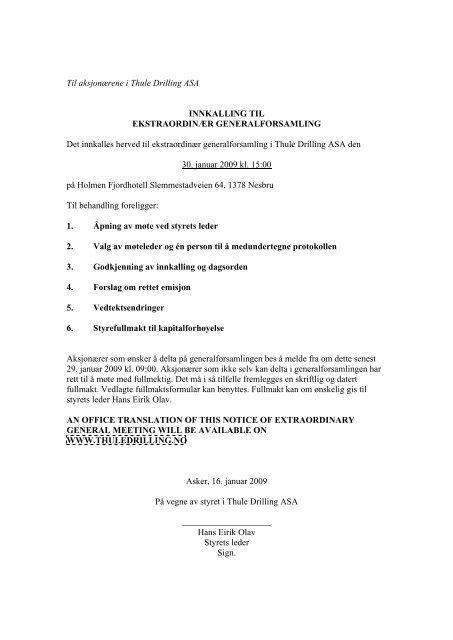 Til aksjonærene i Thule Drilling ASA INNKALLING TIL ...