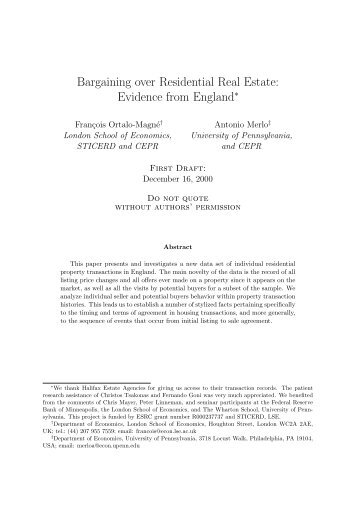 Bargaining over Residential Real Estate: Evidence from England