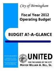 FY 2012 Budget at a Glance - Birmingham