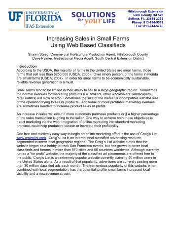 Increasing Sales in Small Farms Using Web Based Classifieds