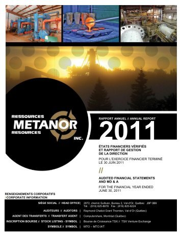 Annual report 2011 - Metanor Resources Inc.