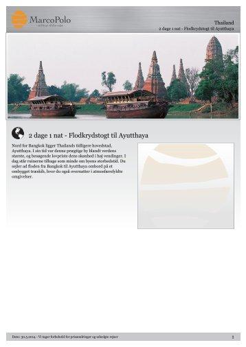 2 dage 1 nat - Flodkrydstogt til Ayutthaya - MarcoPolo