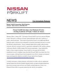 For Immediate Release - Nissan Forklift