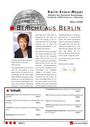 Bericht aus Berlin März 2008 - Karin Evers-Meyer