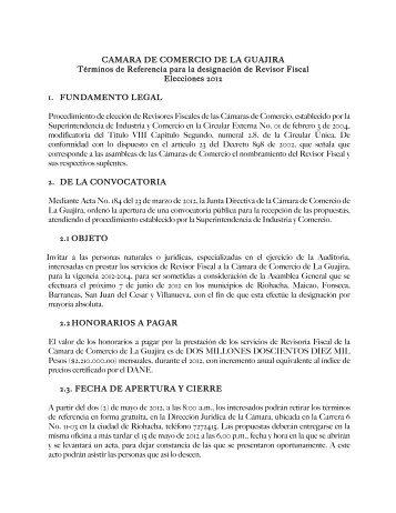 Descargar Términos de Referencia - Cámara de Comercio de La ...