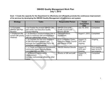 DBHDD Quality Management Work Plan July 1, 2012