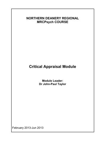 Statistics & Critical Appraisal - Northern Deanery